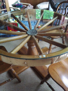 Antique Wooden Wheel Table with Brass Edging