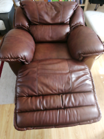Brown real leather electric recliner arm chair