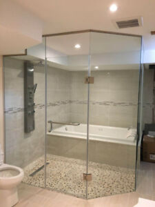 Standard Shower Door, Mirror and Stairs