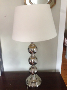 Large silver lamp with lampshade + bulb