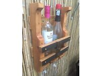 Wine and glass rack - upcycled pallet & oak handmade