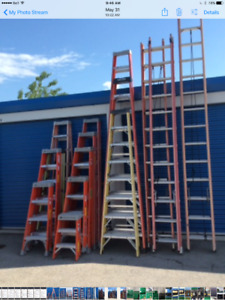 Various sized fibreglass ladders available