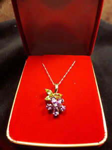 10K Yellow Gold Amethyst & Diamond Floral Necklace