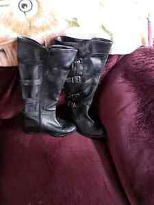 Ladies size 6 very wide calf leather boots