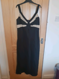 Linen Black and white Dress - Size 10/12