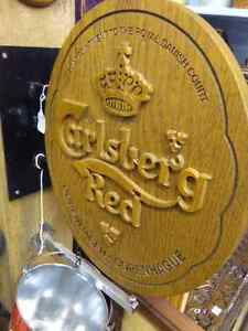 CARLSBERG RED BEER SIGN ON CAST IRON MOUNT GREAT BAR SIGN