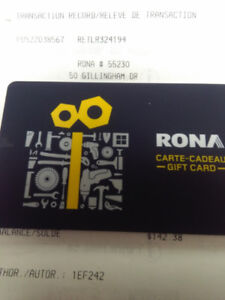 Rona gift card 208.82 for 168
