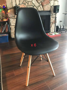 Eames Style Side Chair with Natural Wood Legs