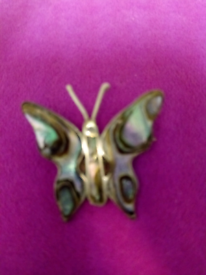 SILVER ART NOUVEAU STYLE, SMALL BUTTERFLY BROOCH