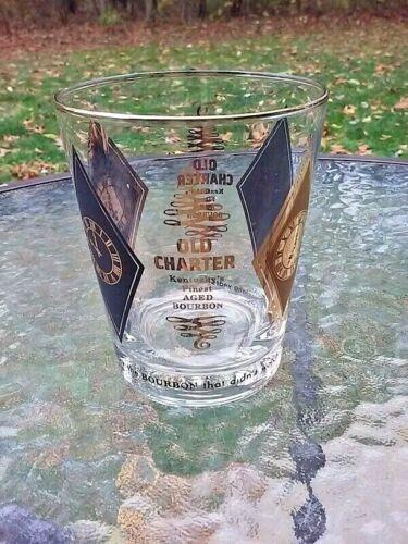 Vtg Old Charter Kentucky Bourbon Whiskey Rocks Drink Glass Black Gold Clock MCM