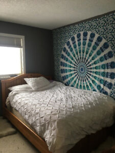 Solid wood-Headboard and bed frame for sale
