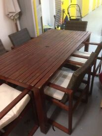 Rattan Garden Dining Table (6 Chairs)