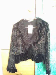NEW Black Bolero Jacket with flowers and frills