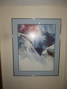 Walter Atkinson Water Colour Print - Skiing picture
