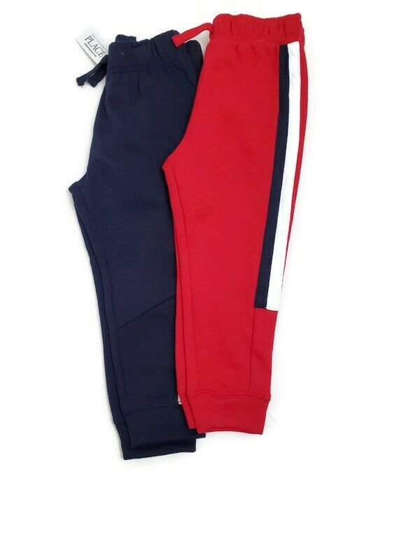 Set of 2 Childrens Place Boys 3T Joggers Sweatpants Red and Blue 22S