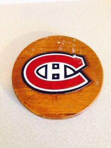 "Carved And Hand Painted 10"" Montreal Canadians Wooden Plaque"