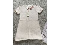 4-5 years cream wool dress with pink bow