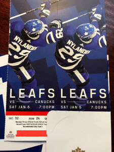 Leafs vs Canucks Sat Jan 5th Reds sec 112 Great Xmas gift
