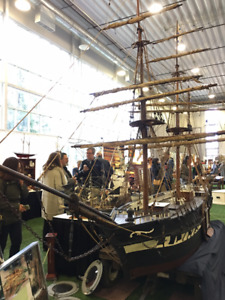 VERY LARGE 120 YEAR OLD ANTIQUE SHIP MODEL