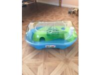Lime green and blue hamster cage