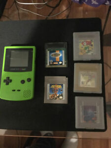 Lime Green Gameboy Color + Games