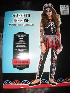 """Girls """"Scared to the Bone"""" Halloween Costume - Size Large"""