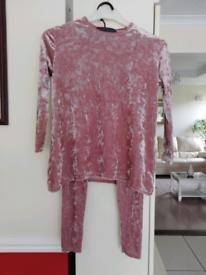 Girls pink crushed velvet track suit.