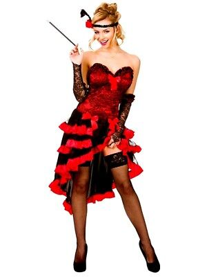 Adult WILD WEST SHOW GIRL Fancy Dress Western Saloon Showgirl Ladies UK Size6-20 (Show Girl)