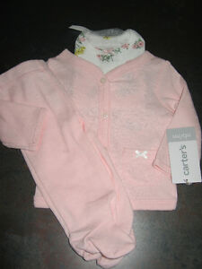 Girl's 0/3 months (carters) 3pcs outfit-new with tags
