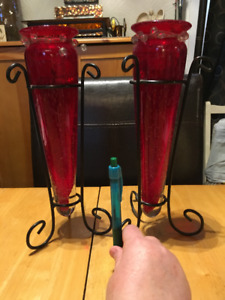 2 red glass decor/candle holders