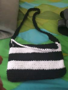 100% cotton hand made crochet purse