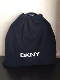 DKNY black grained leather handbag & purse