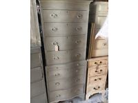 CHEST OF DRAWERS BOW FRONTED NARROW 2 PARTS GREY