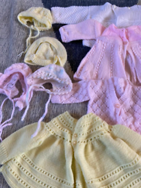 Knitted baby clothes.