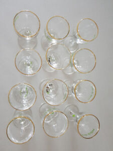 Vintage Irish Coffee Gold rimmed glasses with shamrock on stems