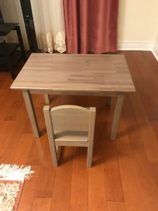 Table, Chair for Children grey-brown