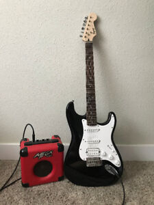 Guitar + amp, good condition. $250