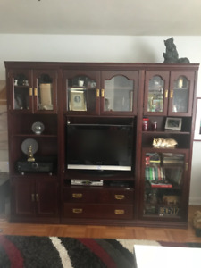WALL UNIT CHERRY STAIN OVER BIRCH WOOD