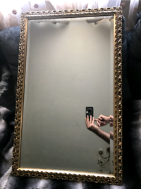 vintage mirror gilt bevel glass wall MIRROR 32.6x 20.4 Inches, Heavy