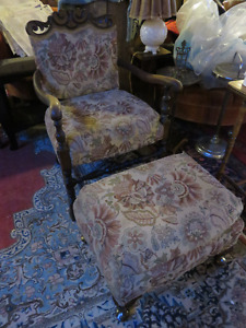 1920'S CHAIR AND OTTOMAN PROFESSIONALLY REUPHOLSTEREDGREAT CONDI