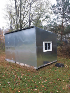 Ice hut 8x12 with woodstove and 3 benches!