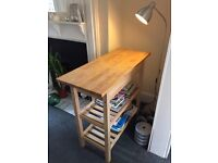 IKEA Kitchen work bench, natural wood