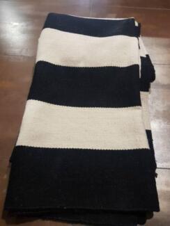 Designer Wool Black and White Striped Rug