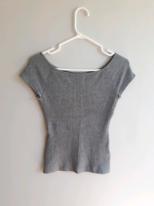 Small - Grey Fitted Ribbed T-shirt from H&M - $10
