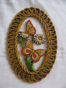 Vintage 1978 Coppercraft Oval Wall Plaque with Butterflies