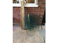 Green metal net fencing with posts
