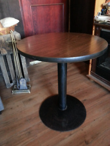 Round Pub Table Steel Base Wood Top