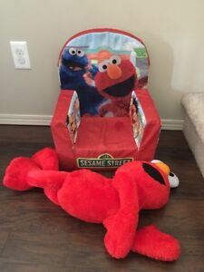 SESAME STREET ELMO Comfy Chair and Giant ELMO stuff toy