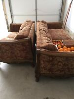 Custom wood carved couches