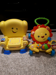 Fisher price learning chair and lion walker